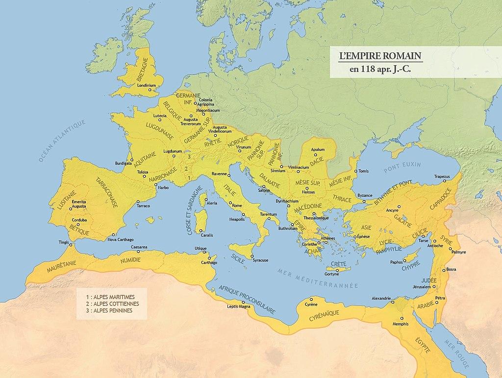 La fin du Paganisme antique et la victoire du Christianisme: Tant mieux? 1024px-Carte_de_l%27Empire_romain_en_118_apr%C3%A8s_J.-C