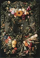 Cartouche with fruit and flowers and wine glass, by Jan Davidsz de Heem.jpg