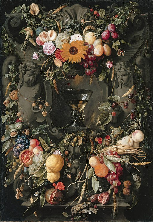 Cartouche with fruit and flowers and wine glass, by Jan Davidsz de Heem