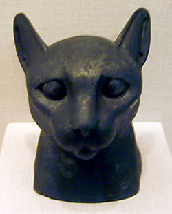 A mask used in the burial of a cat mummy in Ancient Egypt
