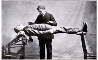 "Stage hypnosis - Catalepsy: ""the human bridge""."