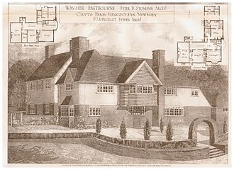 Edwardian architecture - Catts Farm, Kingsclere, Newbury, design by H. Launcelot Fedden (1869-1910), as seen in The Building News, July 31, 1908.