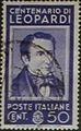 Centenario Giacomo Leopardi - valore da 50 cent - italian stamp - 1937 - serie centenari di uomini illustri.jpg