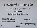 Centennial plaque (1996), Fonyód railway station, 2016 in Somogy County, Hungary.jpg