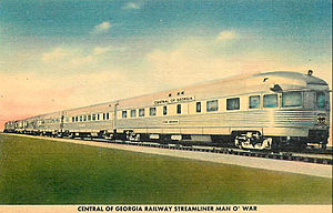 Central of Georgia Railway - Postcard depiction of the streamliner Man o' War.