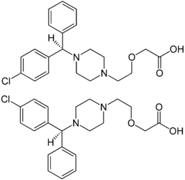 Cetrizine Enantiomers Structural Formulae.png