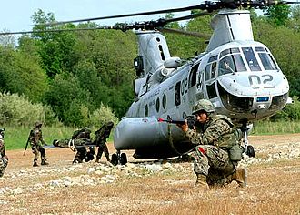 Boeing Vertol CH-46 Sea Knight - U.S. Marines load a simulated casualty onto a CH-46E during convoy operations training in May 2004.