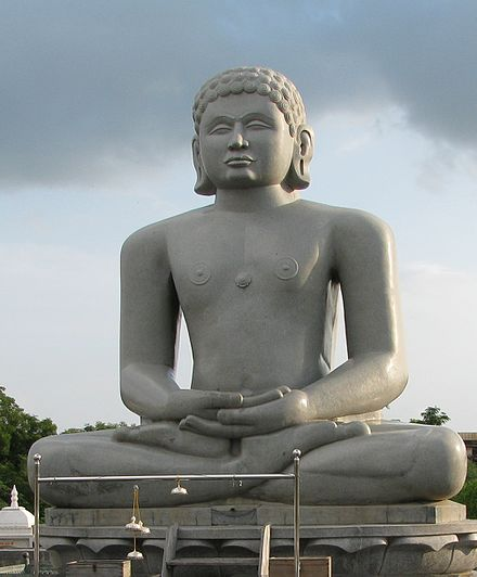 "Statue of Chandraprabha (meaning ""as charming as the moon""), the eighth Tirthankara in Jainism, with the symbol of a crescent moon below it. Chandaragiri Vatika.jpg"