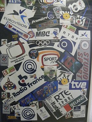 Israel Broadcasting Authority - Stickers of fellow broadcasting entities from around the world are shown in the Israeli Television building, commemorating coverage of international events