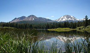 Chaos Crags - Chaos Crags and Lassen Peak seen from the side of Manzanita Lake