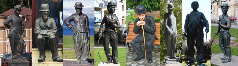 Statues of Chaplin around the world, located at (left to right) 1.Trenčianske Teplice, Slovakia; 2.Chełmża, Poland; 3.Waterville, Ireland; 4.London, United Kingdom; 5.Hyderabad, India; 6.Alassio, Italy; 7.Barcelona, Spain; 8.Vevey, Switzerland
