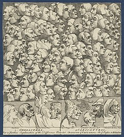 Diversos perfiles faciales como caricaturas, deWilliam Hogarth.