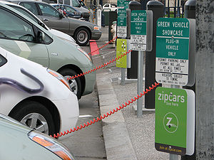 Charging station - Toyota Priuses at public station, San Francisco