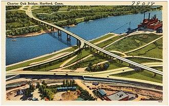 Charter Oak Bridge - A postcard of the old bridge