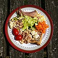 Chicken and ham pie salad Copped Hall house and gardens open day event, Essex, England 2.jpg