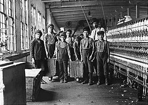 Newton, North Carolina - Some of the bobbin doffers and the superintendent at Catawba Cotton Mill, December 1908. Photographed by Lewis Hine.