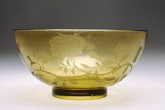 Glass etching - Image: Chinese Bowl with Design of Flowering Peony Walters 47679
