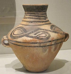Gansu - Xindian culture era jar with two lug handles uncovered in Gansu, dating to around 1,000 BC
