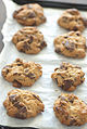 Chocolate chip cookies on parchment paper, August 2009.jpg