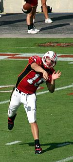 Maryland quarterback Chris Turner immediately after releasing the ball in a forward pass attempt