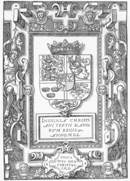 Coat of arms of King Christian III of Denmark. Illustration from the first Danish-language Bible (1550).