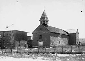 Peña Blanca, New Mexico - Church at Peña Blanca, 1915. Photo by Carlos Vierra