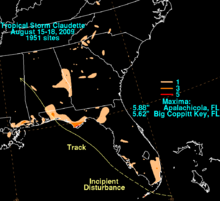 Map of the southern United States detailing the rainfall totals from a tropical storm. The heaviest totals, denoted in orange coloring, are located over northern Florida.