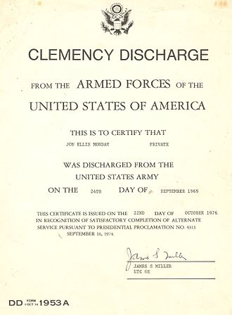 Military discharge - Clemency Discharge established by Presidential Proclamation 4313