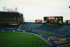 Cleveland Stadium - View of center field in 1993. Lake Erie can be seen just outside the stadium. Visible beyond the outfield wall is a portion of the original (larger) outfield area.