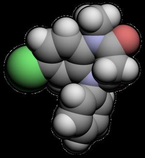 Molecular spacefill of Clobazam