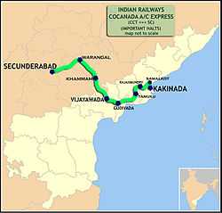 Cocanada AC Express (Kakinada - Secunderabad) Route map.jpg