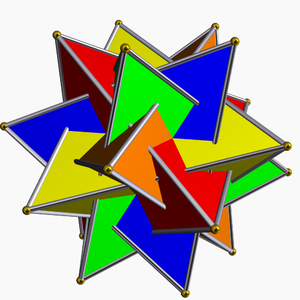 Group action - In the compound of five tetrahedra, the symmetry group is the (rotational) icosahedral group I of order 60, while the stabilizer of a single chosen tetrahedron is the (rotational) tetrahedral group T of order 12, and the orbit space I/T (of order 60/12 = 5) is naturally identified with the 5 tetrahedra – the coset gT corresponds to the tetrahedron to which g sends the chosen tetrahedron.