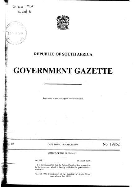 File:Constitution of the Republic of South Africa Amendment Act 1999 from Government Gazette.djvu