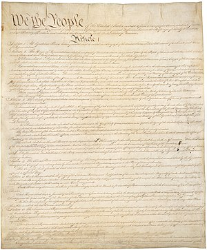 History of the United States Constitution - Page one of the original copy of the United States Constitution