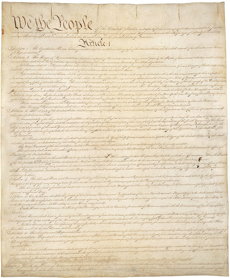 Image of the original Constitution, from National Archives, used via Wikimedia Commons (public domain)