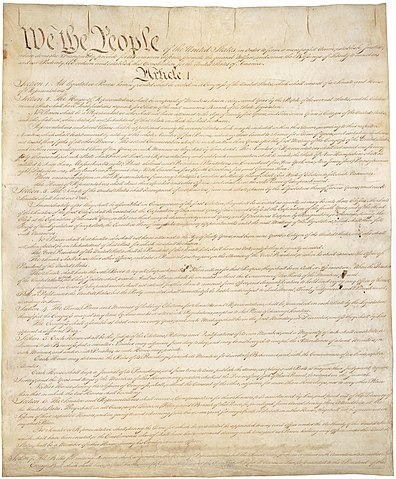 Page one of the original copy of the United States Constitution