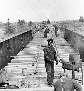 National Transcontinental Railway - Building a bridge on the National Transcontinental Railway, ca 1910.