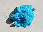 Photo of powdered copper(II) sulphate pentahydrate
