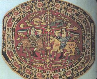 Coptic art - Rondel, wool on linen, 6th century, Syrian or Egyptian Coptic. Cooper Union museum.