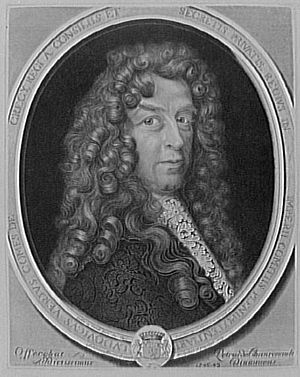 Louis de Verjus - Crécy-Verjus, ambassador – engraving by Antoine Masson (1636–1700) after a portrait of c. 1695, when Verjus was plenipotentiary to the German lands.