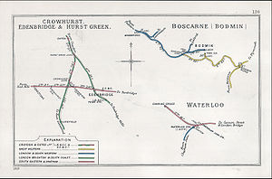 Oxted line - A 1910 Railway Clearing House map of the interaction of the Oxted line and the Redhill to Tonbridge Line.