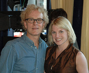 Eva Birthistle - Curt Truninger and Eva Birthistle on the set of The Rendezvous in Toronto.