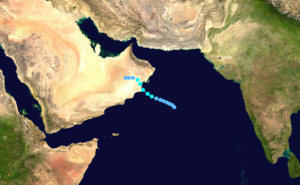 1996 Oman cyclone - Image: Cyclone 02A 1996 track