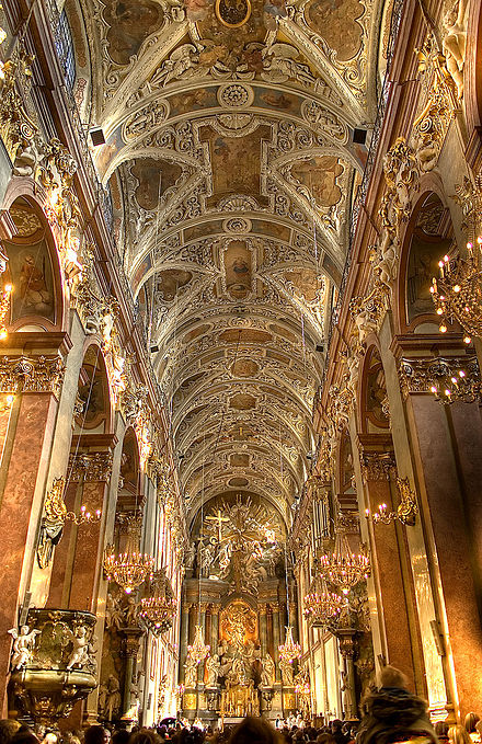 Baroque stucco decorations of the main nave of the Jasna Gora Monastery basilica, 1693-1695 Czestochowa-bazylika.jpg