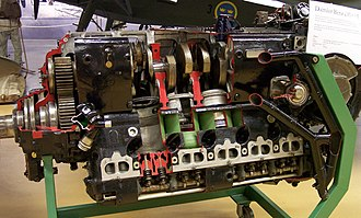 Monobloc engine - DB 605 inverted aircraft engine of WW2, with monobloc cylinder blocks and heads