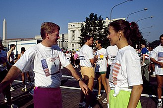 Marilyn Quayle - Vice President Dan Quayle and Second Lady Marilyn Quayle at Race for the Cure on Pennsylvania Avenue, Washington, D.C. in 1990.