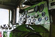 Green control panel, with many gauges