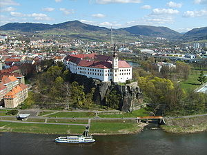 Děčín Castle as seen from the Shepherd's Cliff
