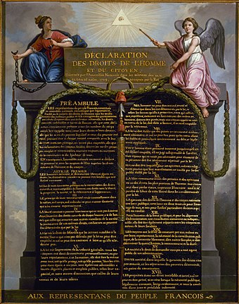 The Declaration of the Rights of Man and of the Citizen (1789) guarantees freedom of religion, as long as religious activities do not infringe on public order in ways detrimental to society. Declaration of Human Rights.jpg