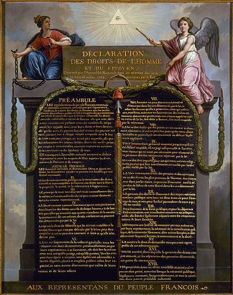 The revolutionary decrees passed by the Assembly in August 1789 culminated in The Declaration of the Rights of Man and of the Citizen. Declaration of Human Rights.jpg